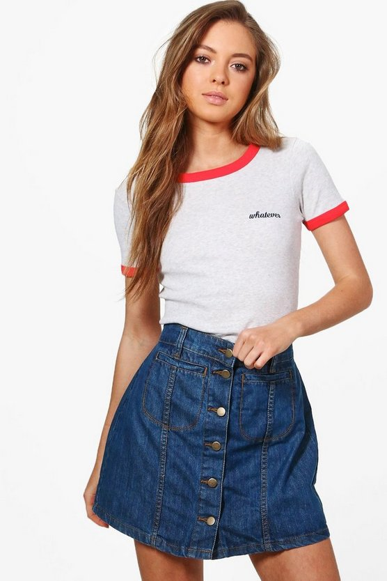 Rose Button Through Denim Mini Skirt