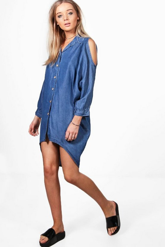 Louise Oversized Cold Shoulder Denim Dress