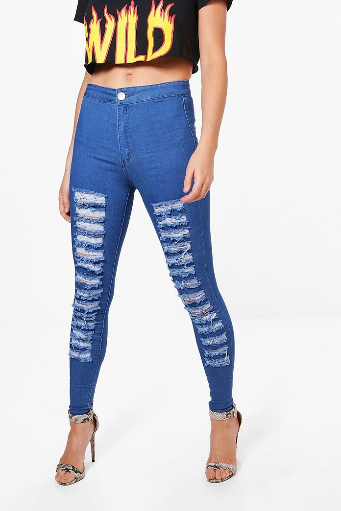 Andrea High Rise Ripped Leg Skinny Jeans