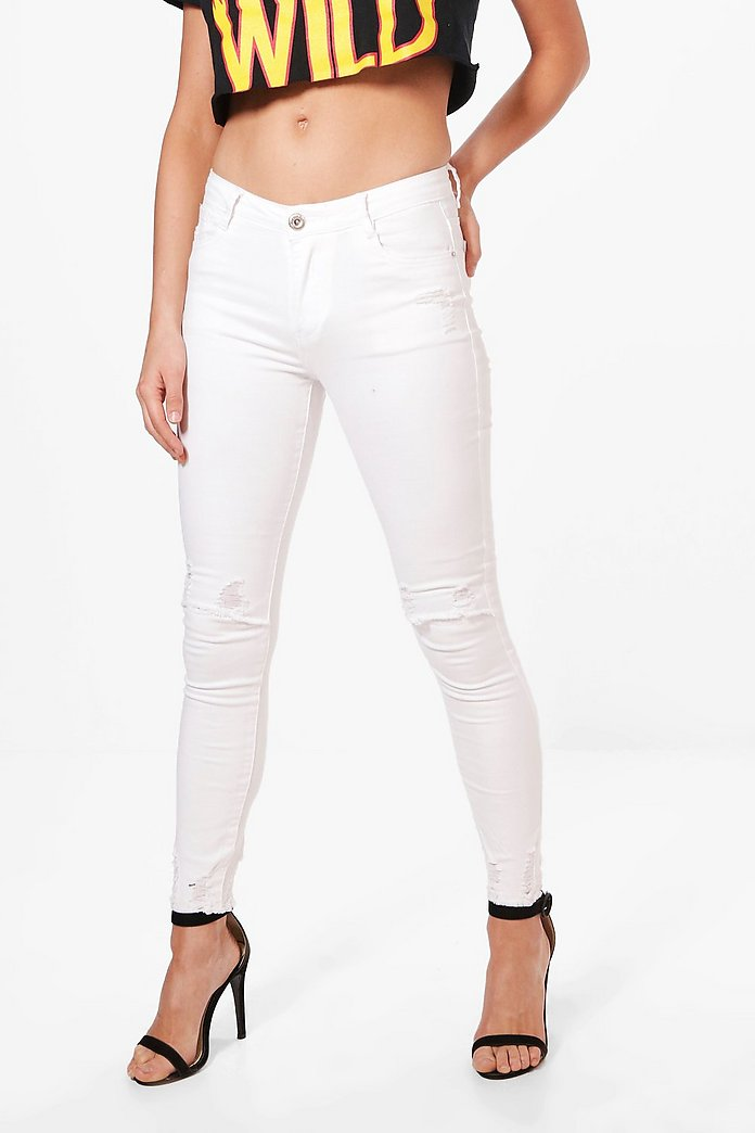Sally Distressed Hem And Knee Skinny Jeans