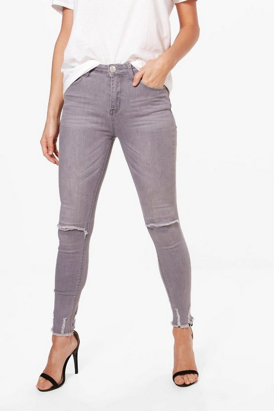 Kelly High Rise Distressed Hem Skinny Jeans