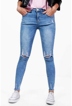 Alex High Rise Distressed Split Leg Jeans