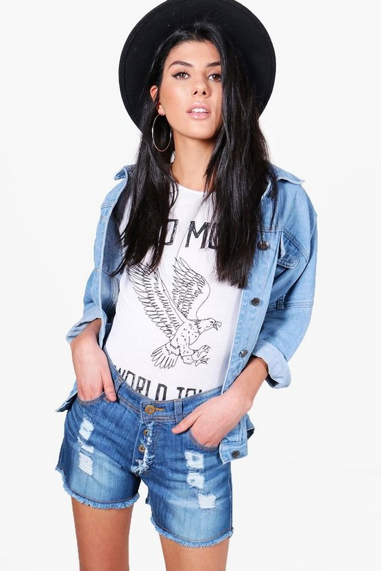 Sofia Mid Rise Distressed Hotpants