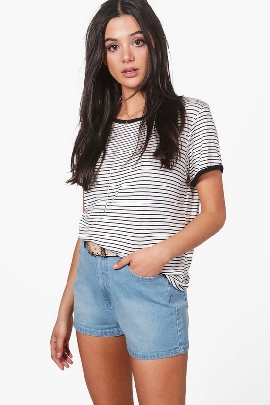 Lola High Rise Denim Mom Shorts