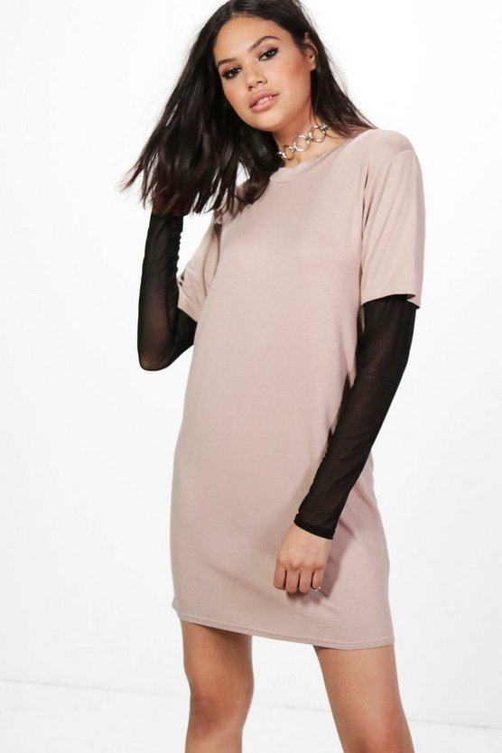 Mol Mesh Sleeve Double Layer T-Shirt Dress