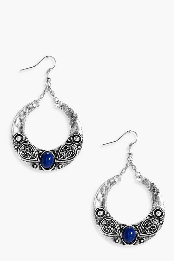 Mia Stone Boho Hoop Earrings