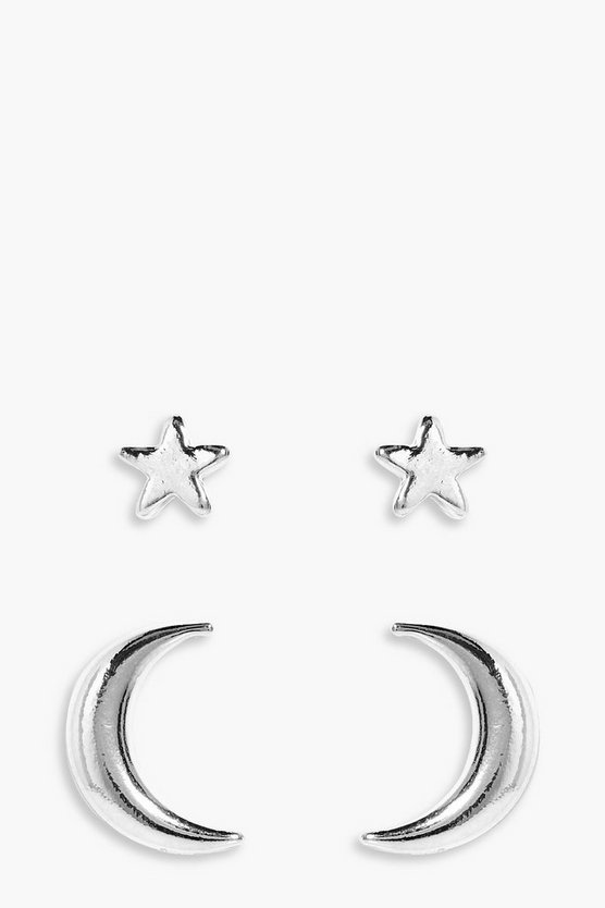 Florence Star & Moon Stud Earrings 2 Pack