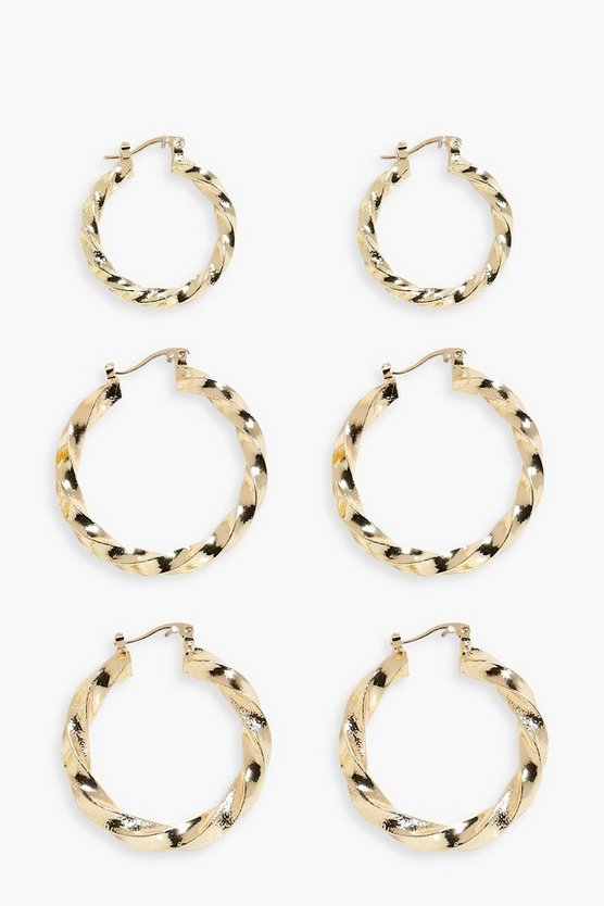 Hannah Twisted Hoop Earrings 3 Pack