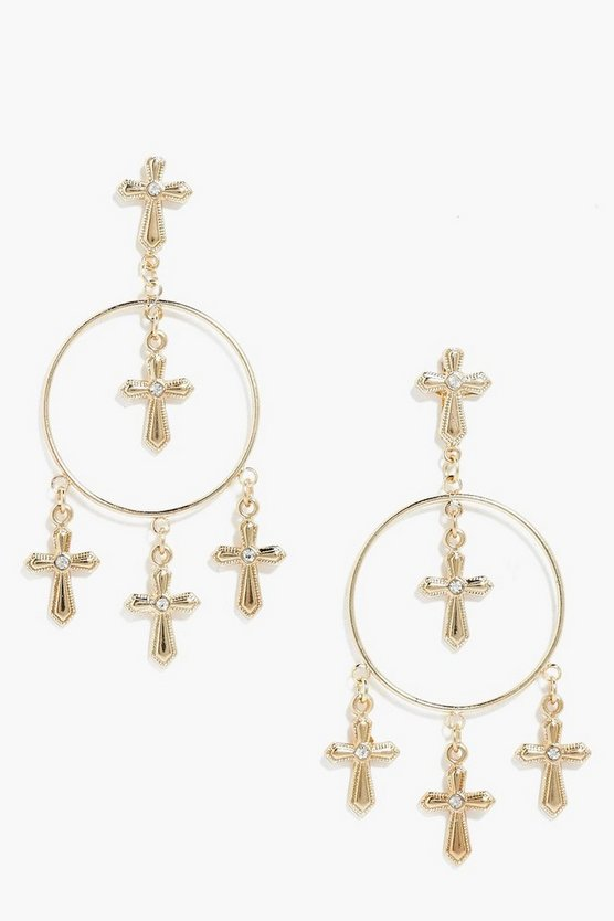Isla Cross Hoop Earrings