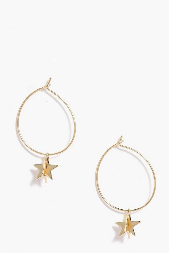 Poppy Star Detail Hoop Earrings
