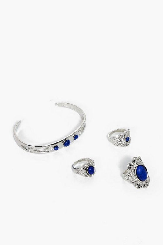 Brooke Boho Stone Cuff & Ring Set 4 Pcs