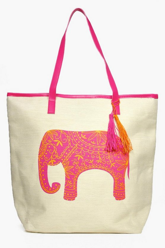 Nadia Elephant Straw Beach Bag