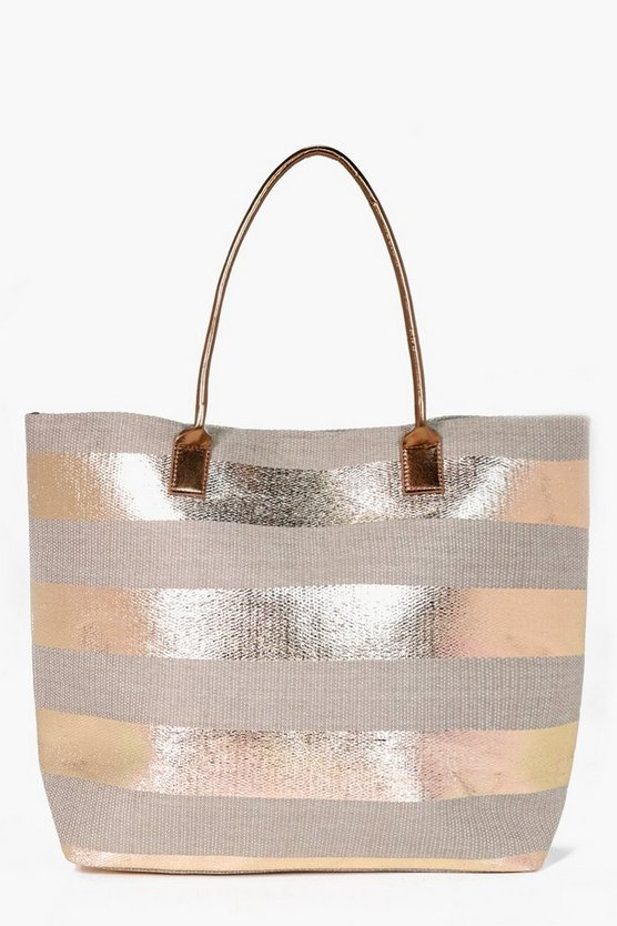Kara Striped Paper Straw Beach Bag