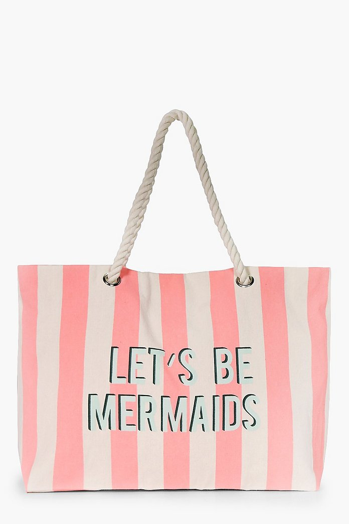 Nina Slogan Rope Handle Beach Bag