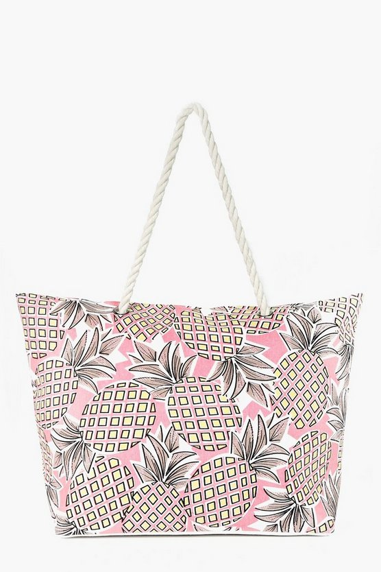 Mae Pineapple Print Beach Bag