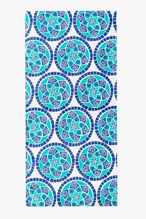 Boho Tile Print Beach Towel