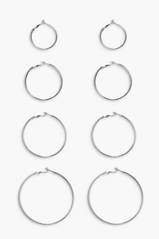Mixed Size Simple Hoop Earring Set