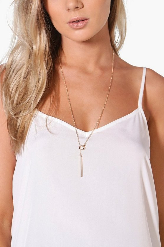 Elena Skinny Plunge Hoop & Bar Necklace
