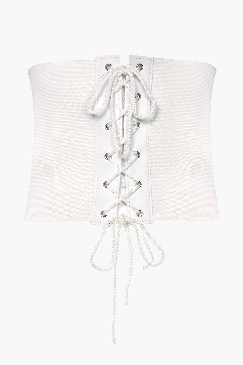 Lace Up Stretch Corset Belt - white - Harriet Lace