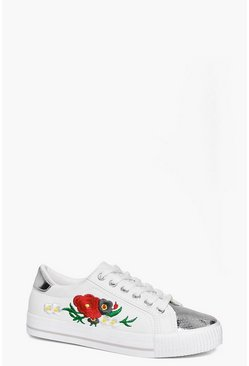 Beth Embroidered Metallic Toe Cap Trainer