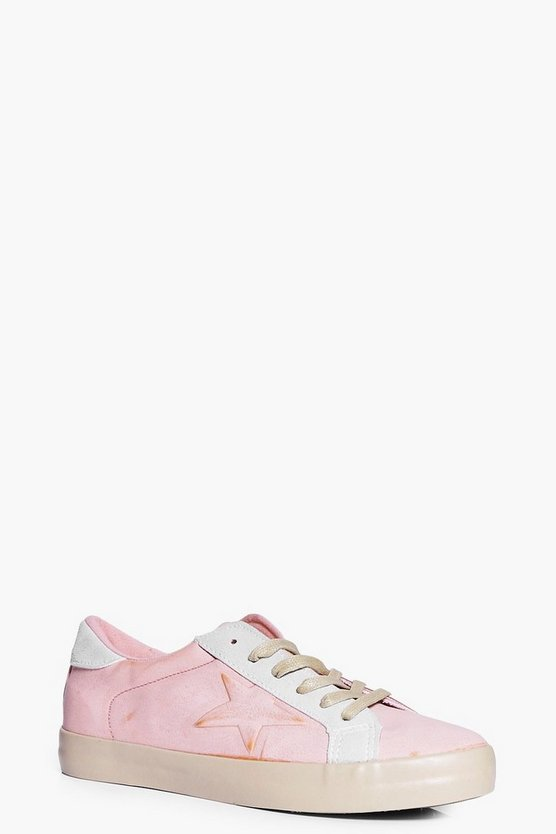 Phoebe Lace Up Star Contrast Trainer