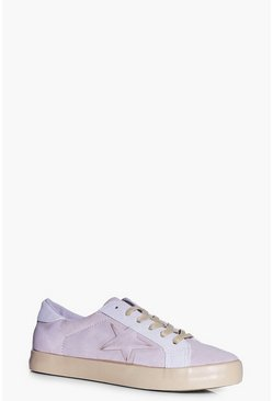 Abigail Lace Up Star Contrast Trainer