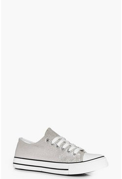 Ella Lace Up Metallic Croc Trainer