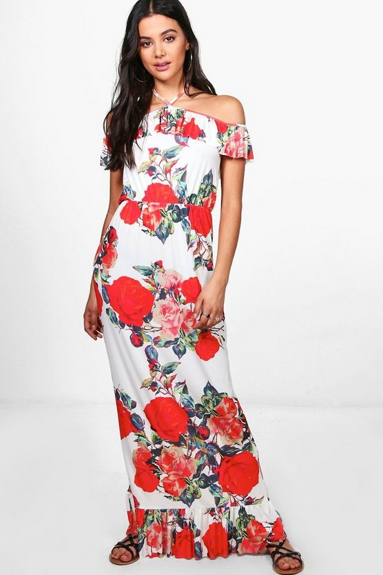 Ali Cold Shoulder Ruffle Maxi Dress