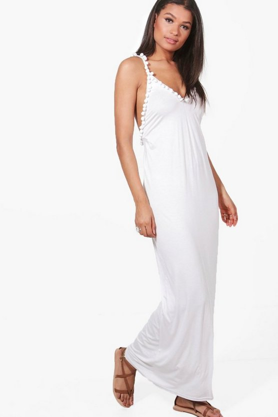 Meg Strappy Pom Pom Detail Maxi Dress