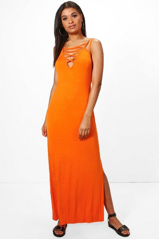 Abi Cross Front Strappy Detail Maxi Dress
