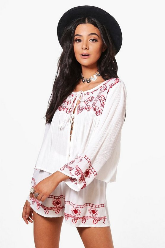Emma Embroidered Tie Top & Shorts Co-Ord
