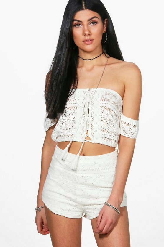 Keeva Crochet Crop & Short Co-ord Set
