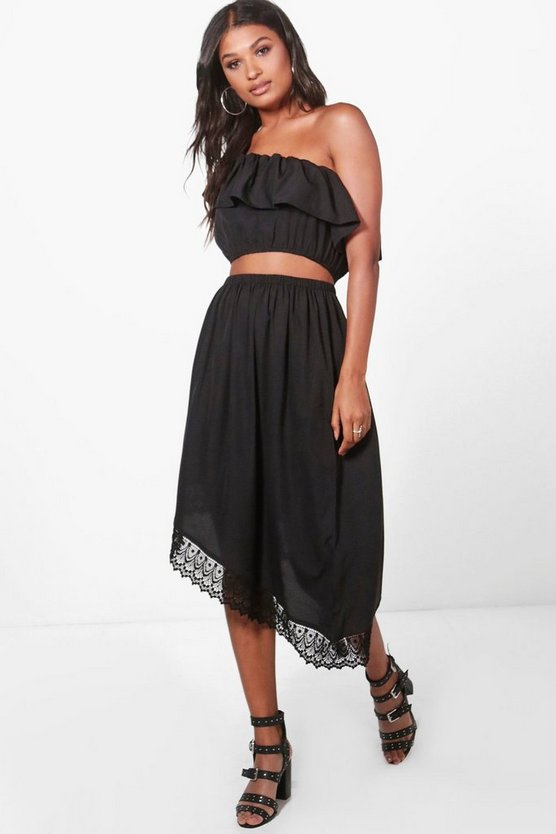Hannah Frill Crop & Asymmetric Skirt Co-Ord Set