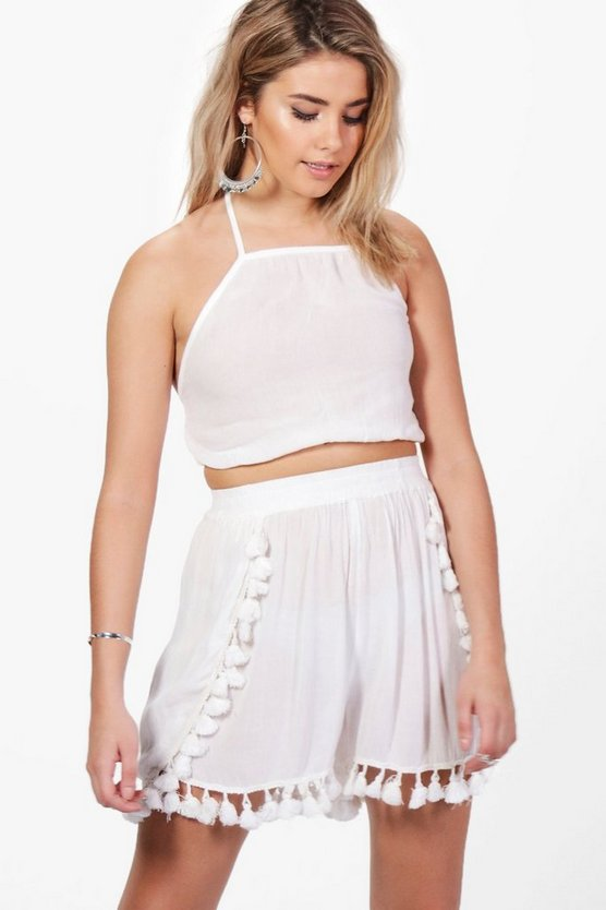 Elsa Tassle Trim Crop & Short Co-ord Set