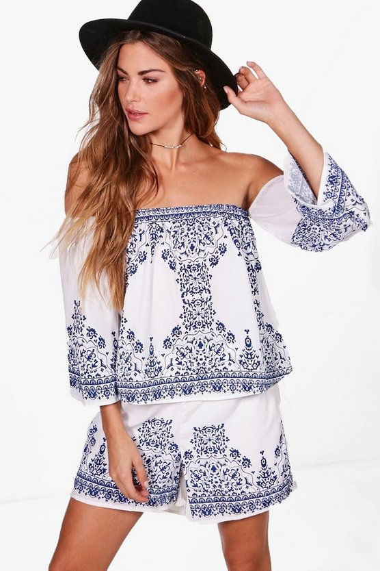 Katy Placement Print Crop & Shorts Co-Ord