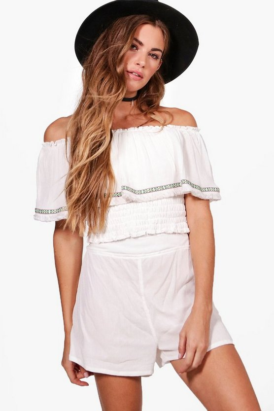 Natasha Woven Off Shoulder Crop & Shorts Co-Ord