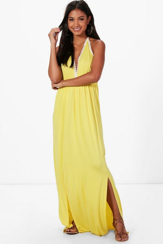 V Neck Trim Halter Neck Maxi Dress
