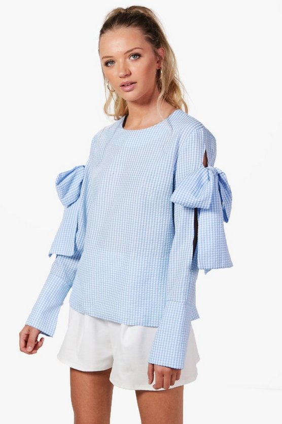 Heidi Gingham Tie Sleeve Blouse
