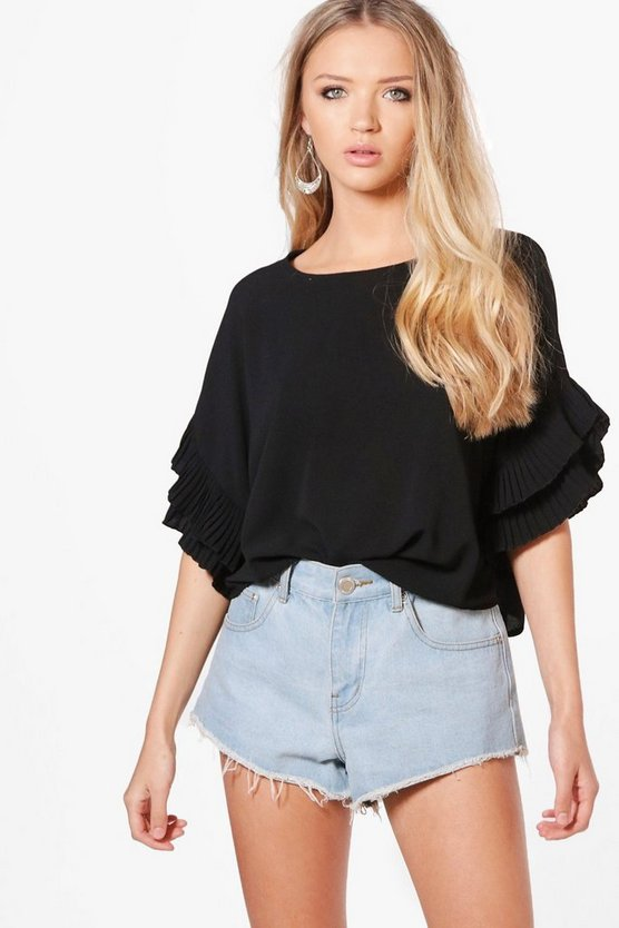 Mila Woven Pleat Sleeve Wide Top