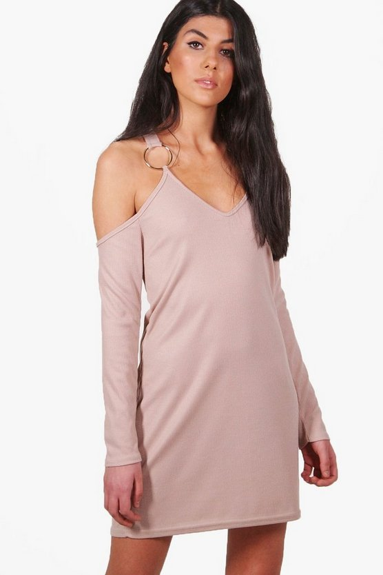 Niamh Rib O-Ring Cold Shoulder Shift Dress