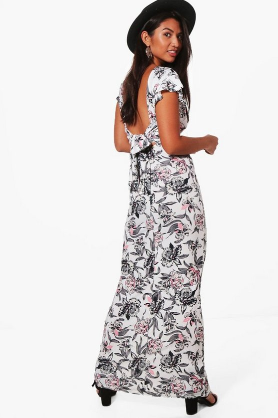 Frill Sleeve Backless Floral Maxi Dress