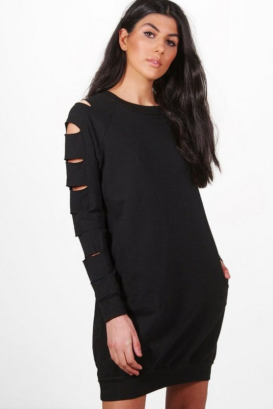 Sarah Cut Sleeve Distressed Sweat Dress