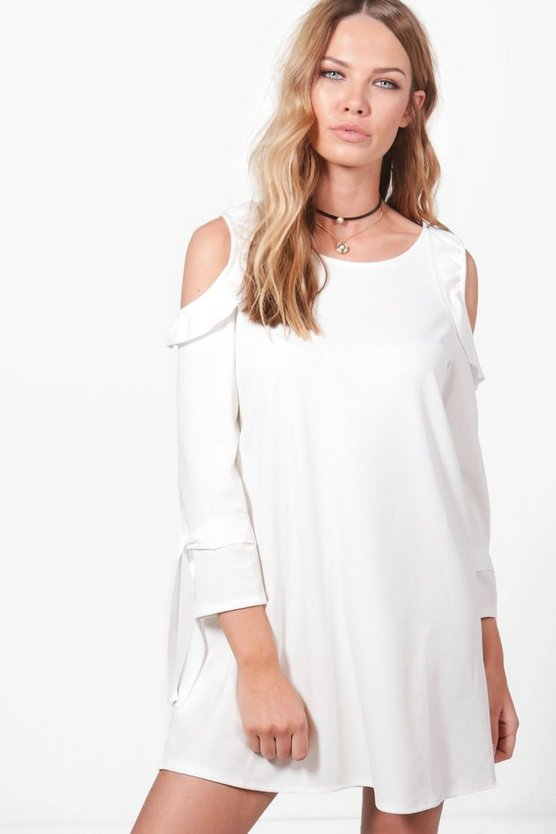 Rita Cold Shoulder Ruffle Dress