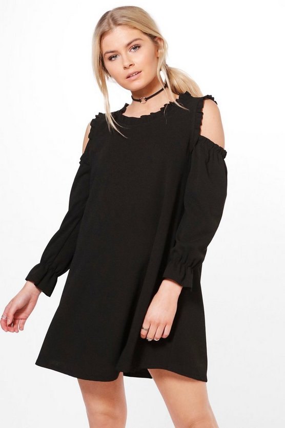 Liz Cold Shoulder Ruffle Sleeve Dress