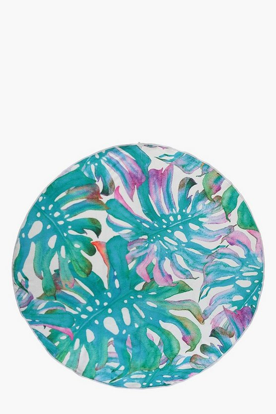 Tropical Leaf Print Round Beach Towel