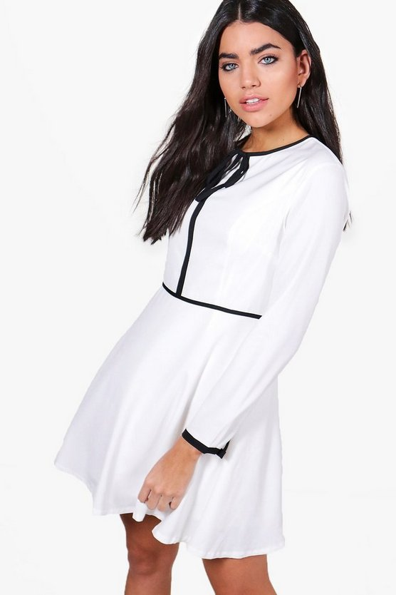 Roxy Contrast Tipping Tie Skater Dress
