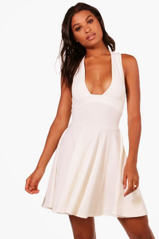 Madison Textured Plunge Skater Dress