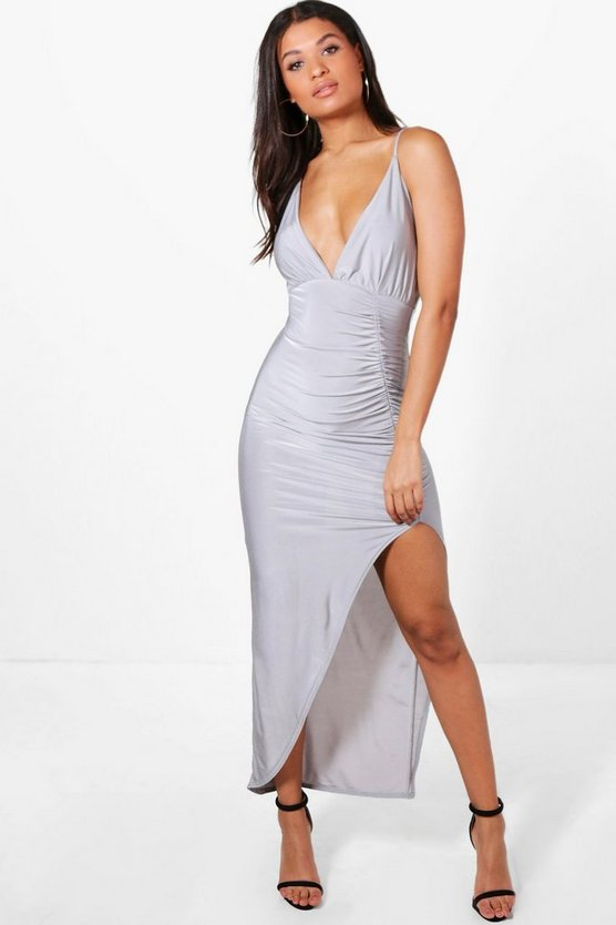 Isobel Slinky Ruched Side Strappy Maxi Dress
