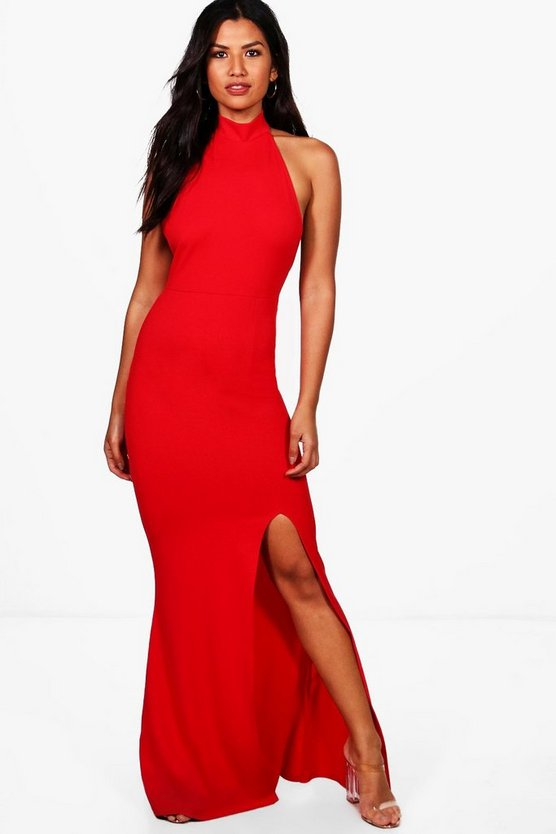 Faith High Neck Extreme Split Front Maxi Dress