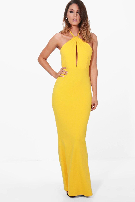 Plunge Halterneck Maxi Dress  yellow